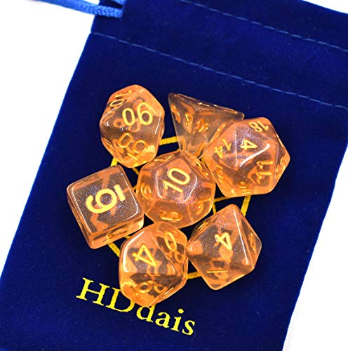 Hddais DND Dice for Dungeons and Dragons Pathfinder RPG MTG Table Gaming  with Velvet Bag(Orange)