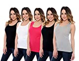 5 Pack Women's 100% Cotton Layering A-Shirts Full Muscle Back Ribbed Tank Tops - Assorted Colors