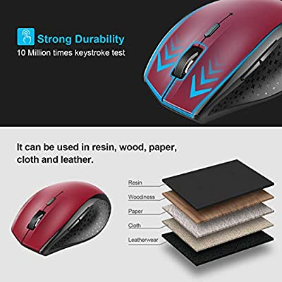 aeff6a5ebcd TECKNET Bluetooth Wireless Mouse (BM308) (Red) - Amazon Mỹ | Fado.vn