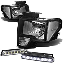 Ford F150 12th Gen Black Housing Clear Corner Headlight+DRL 8 LED Fog Light