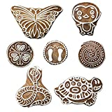 PARIJAT HANDICRAFT Printing Stamps Animal Design Wooden Blocks (Set of 7) Hand-Carved for Saree Border Making Pottery Crafts Textile Printing