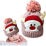 Christmas Holiday Baby Kids Knitted Warm Hat Toddler Santa Knit Cap Infant Reindeer Beanie Cap (K-Pink)