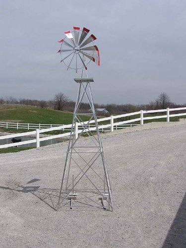 10 Ft Premium Aluminum Decorative Garden Windmill  Red Trim