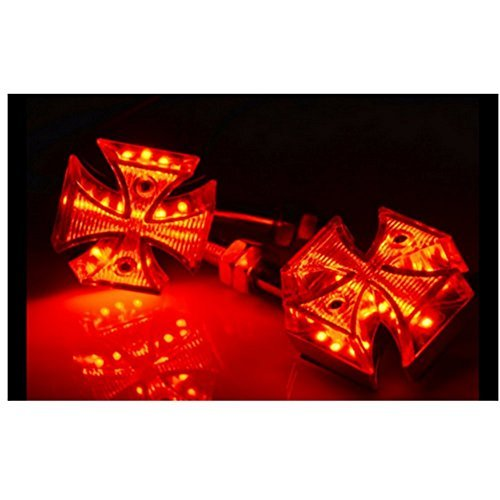 DLLL Universal 2xSmoke Lens Red Maltese Cross Motorcycle LED Brake Stop Turn Signal Marker Light for Suzuki Harley Davidson Kawasaki Yamaha Honda ATV - Harley Maltese Cross