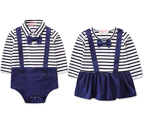 Twins Matching Outfits Boy and Girl Long Sleeve Striped Bowtie Bodysuit Birthday Shirt