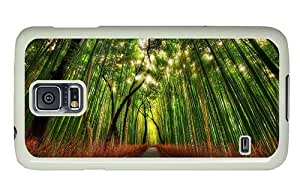 Hipster cool Samsung Galaxy S5 Case bamboo forest road PC White for Samsung S5