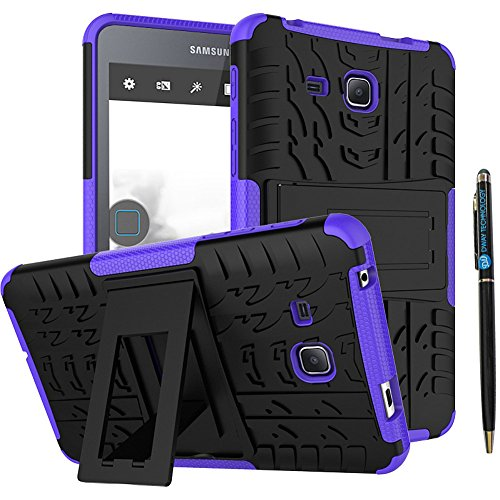 Tab A 7.0 Inch Heavy Duty Case DWaybox 2in1 Combo Hybrid Rugged Armor Back Case Cover with Kickstand for Samsung Galaxy Tab A 7 Inch 2016 SM-T280 / T285 / Samsung Tab A6 A7 7.0 (Purple)