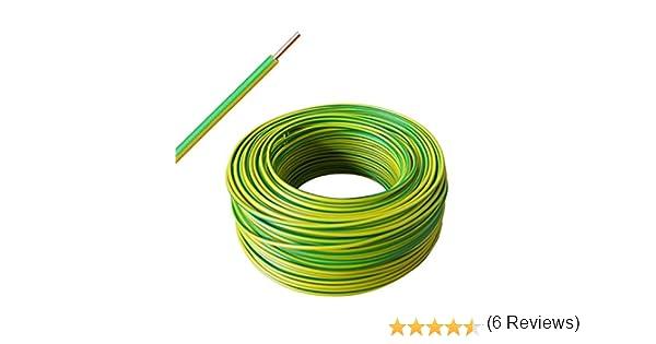 verde//amarillo H07V-U 1x4 mm2 Cable r/ígido de un solo cable a partir de 10 m hasta 50 m a elegir