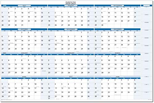 Academic Dry and Wet erasable Wall Calendars by PlanetSafe Calendars (2019-2020 Sky Blue Horizontal 32 x 48) ()