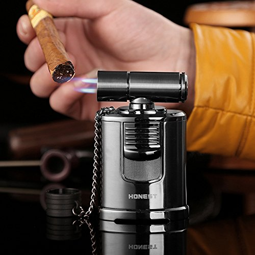 QIMEI Table Jet Torch lighter For Cigar Baking BBQ Welding Gas Refillable Gas Turbo Lighter 4 Jet Flame(Gas Not Included) (Table Jet Lighter Black) by QIMEI (Image #2)