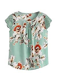 Milumia Blusa Plisada de Manga Corta con Estampado Floral para Mujer