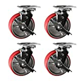6'' Heavy Duty Swivel Casters with Brake - 6'' Red Polyurethane Tread Iron Core Wheel -Service Caster Brand Set of 4