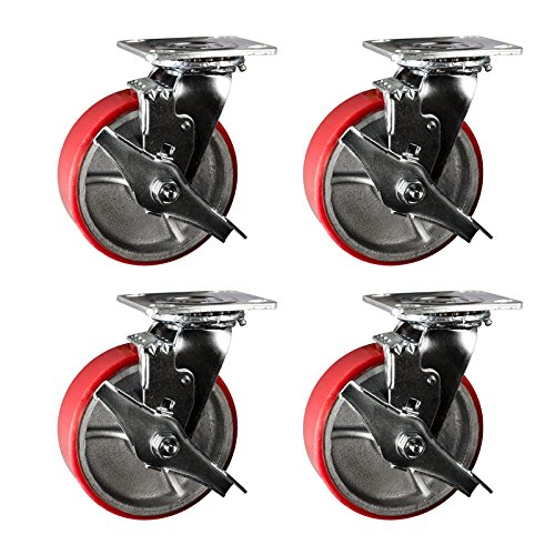 6'' Heavy Duty Swivel Casters with Brake - 6'' Red Polyurethane Tread Iron Core Wheel -Service Caster Brand Set of 4 by Service Caster