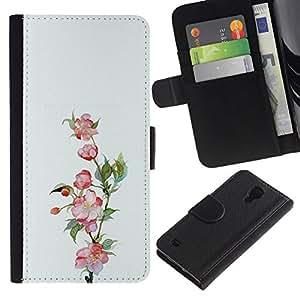 All Phone Most Case / Oferta Especial Cáscara Funda de cuero Monedero Cubierta de proteccion Caso / Wallet Case for Samsung Galaxy S4 IV I9500 // Plant Nature Spring Pink White