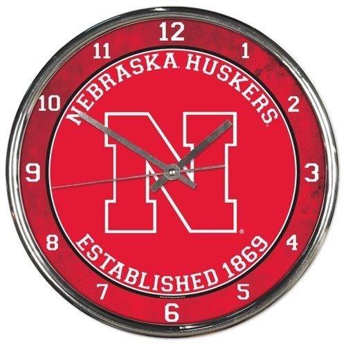 - Nebraska Huskers Round Chrome Wall Clock