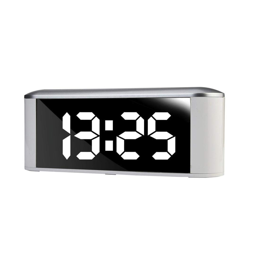 Bluetooth Wireless Speaker with Dual Alarm Clock, Digital FM Radio,Thermometer, Large Mirror LED Dimmable Display for Hotel,Home,Office,Bedroom,Travel (White)