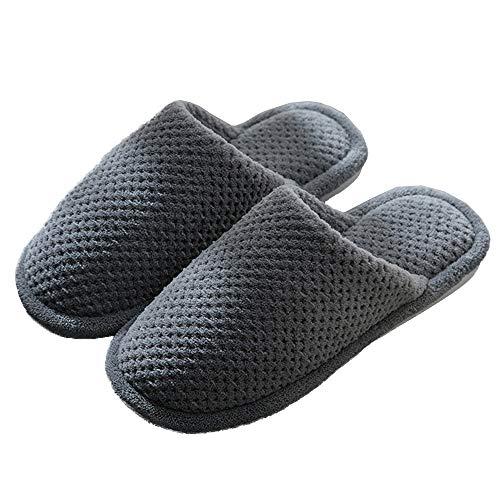 Dark Gray Men Women's Cotton Knit Memory Foam Slippers Terry Cloth Anti Skid Indoor/Outdoor Slip-On House Shoes Women's Cozy Fleece House Slippers Wool-Like Plush Fleece Lined House Shoes Women 42-43