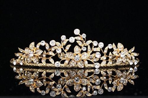 Flower Leaf Bridal Wedding Tiara Crown - Clear Crystals Gold Plating T656