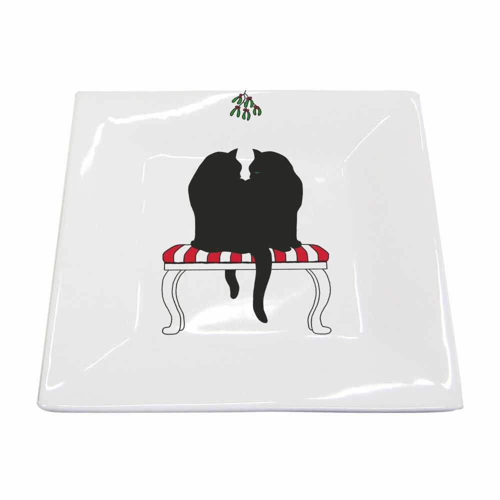 Paperproducts Design New Bone China Small Square Plate Featuring Black Cat Mistletoe Design, 5.75 x 5.75