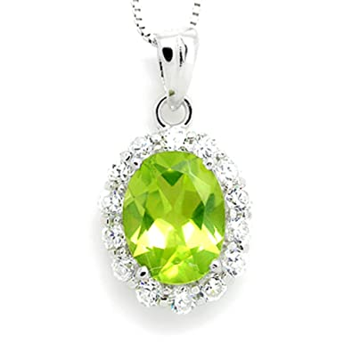 N4006P-Peridot Princess Pendent Necklace Anniversary Mothers Day Birthday Gift Present