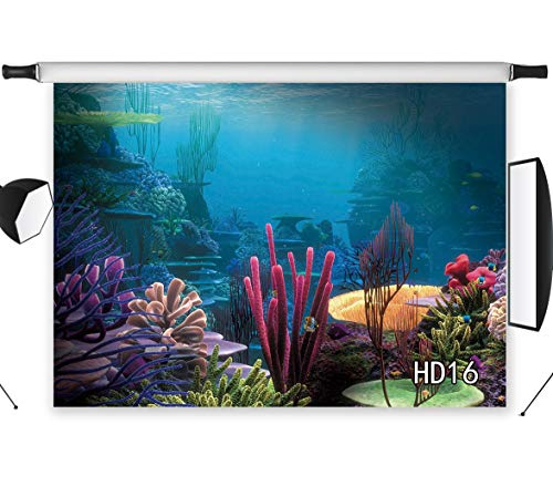 LB Under The Sea Photography Backdrop 7x5ft Underwater Coral Reef Blue Ocean Photo Background Customized Studio Props -