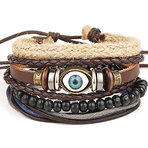 Woven Bracelet for Men Women Bead Hemp Rope Wrist Stacking Alloy Punk Adjustable Evil Eye (Woven Hemp)
