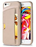 iPhone 6 Plus Case, WINNETEK Faux Leather Ultra Slim iPhone 6 Plus Wallet Case Credit Card Holder Dual Layers Carrying Case Protective Shell for iPhone 6 Plus Cases, iPhone 6s Plus 5.5 Inch - Beige