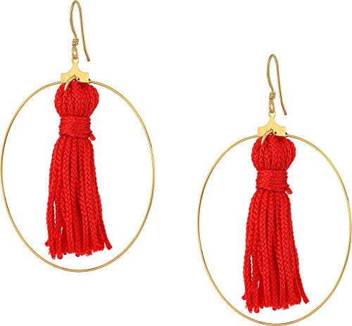Kenneth Jay Lane Women's Gold Hoop w/ Red Tassel Fishhook Earrings Gold One Size Kenneth Jay Lane Red Earrings