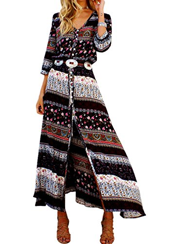 Women's Boho Ethnic Floral Print V Neck Button Up Split Tie-Waist Summer Beach Flowy Maxi Dress (Sleeve Button Front Dress)