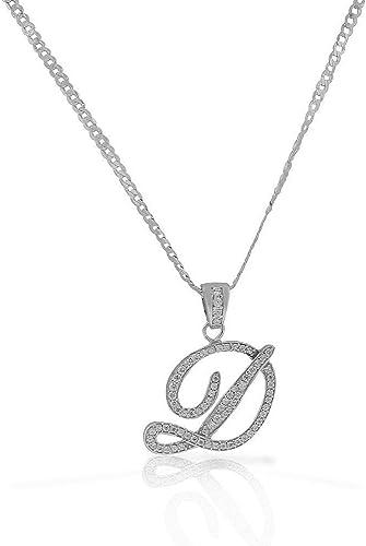 Letter D Pendant Initial Alphabet Charm Cursive Sterling Silver