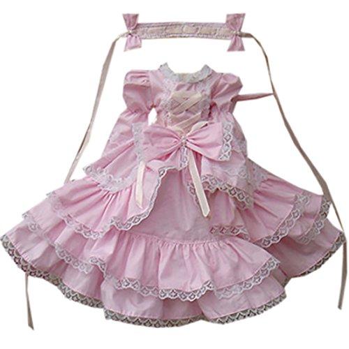 Partiss 1/3 1/4 1/6 BJD SD Doll Clothes Lovely Girls Lolita Dress,1/6,Pink