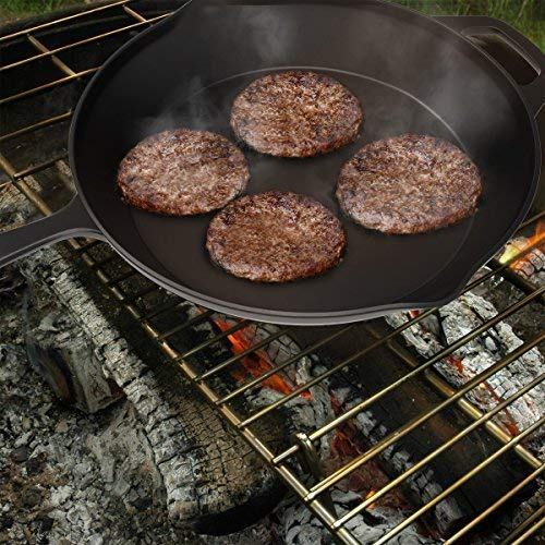 Camping Baking and Frying Home Pre-Seasoned 12 inch Cast Iron Skillet- for Indoor and Outdoor Cooking Searing