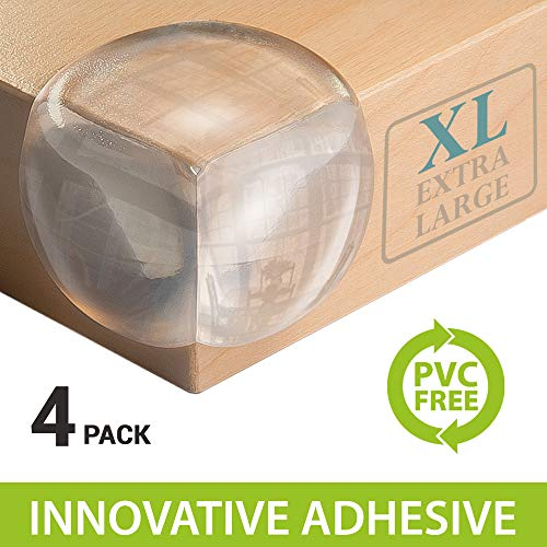 Corner Guards Innovative PVC Free- | Extra Large for Safety | X5 More Adhesive Power Pre-Applied | 200% Softer Material | 4 Pack | Baby Proofing Toddler Friendly | Aesthetically Clear from Home Goblin