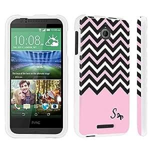 DuroCase ? HTC Desire 510 Hard Case White - (Black Pink White Chevron S) by icecream design