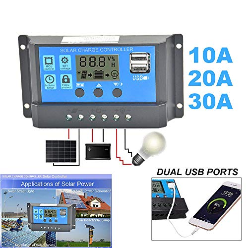 Fullfun 24V 12V Auto Solar Panel Battery Charge Controller 30A 20A 10A PWM LCD Display Solar Collector Regulator with Dual USB Output (20A)