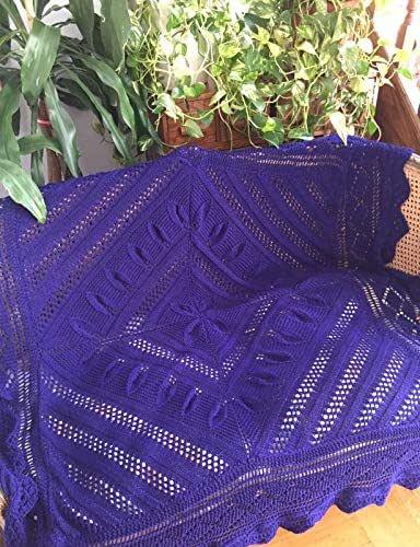 Manta tejida 100% a mano o cobertor de cama, cubrecamas, adorno para sofás y sillones, cuadrada, mediana, de lana virgen, color violeta