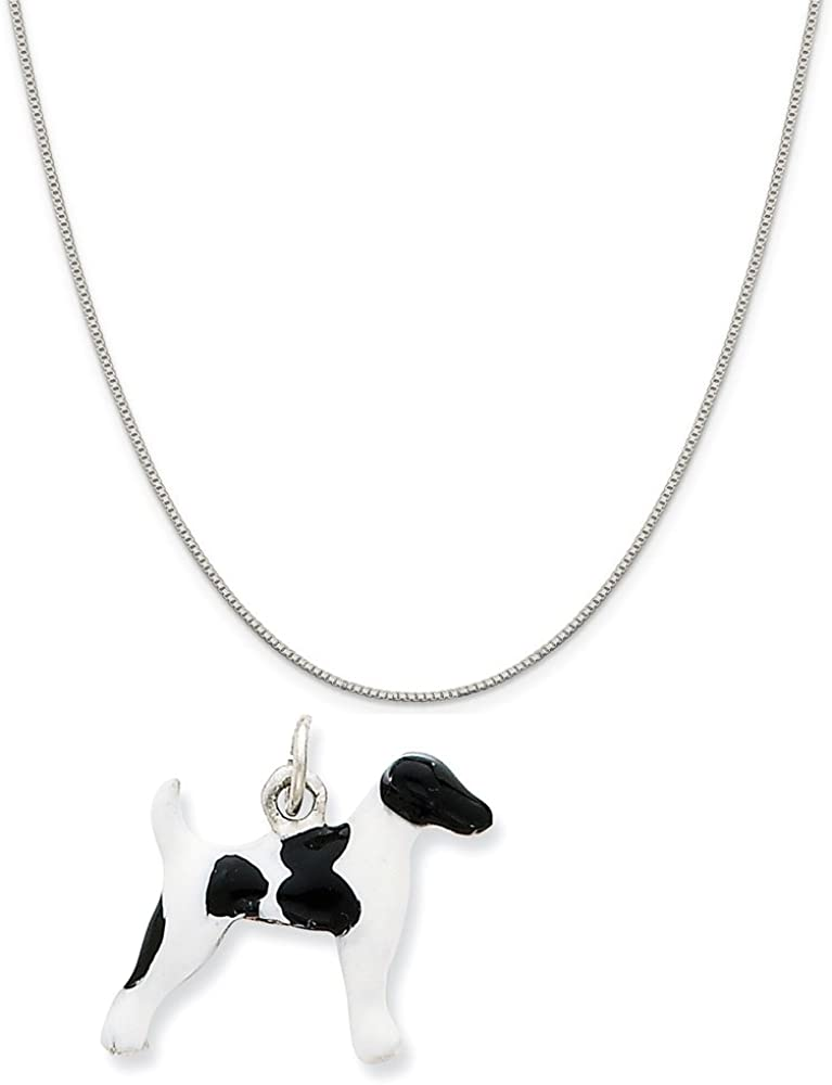 Mireval Sterling Silver Antiqued Fox Charm on a Sterling Silver Chain Necklace 16-20