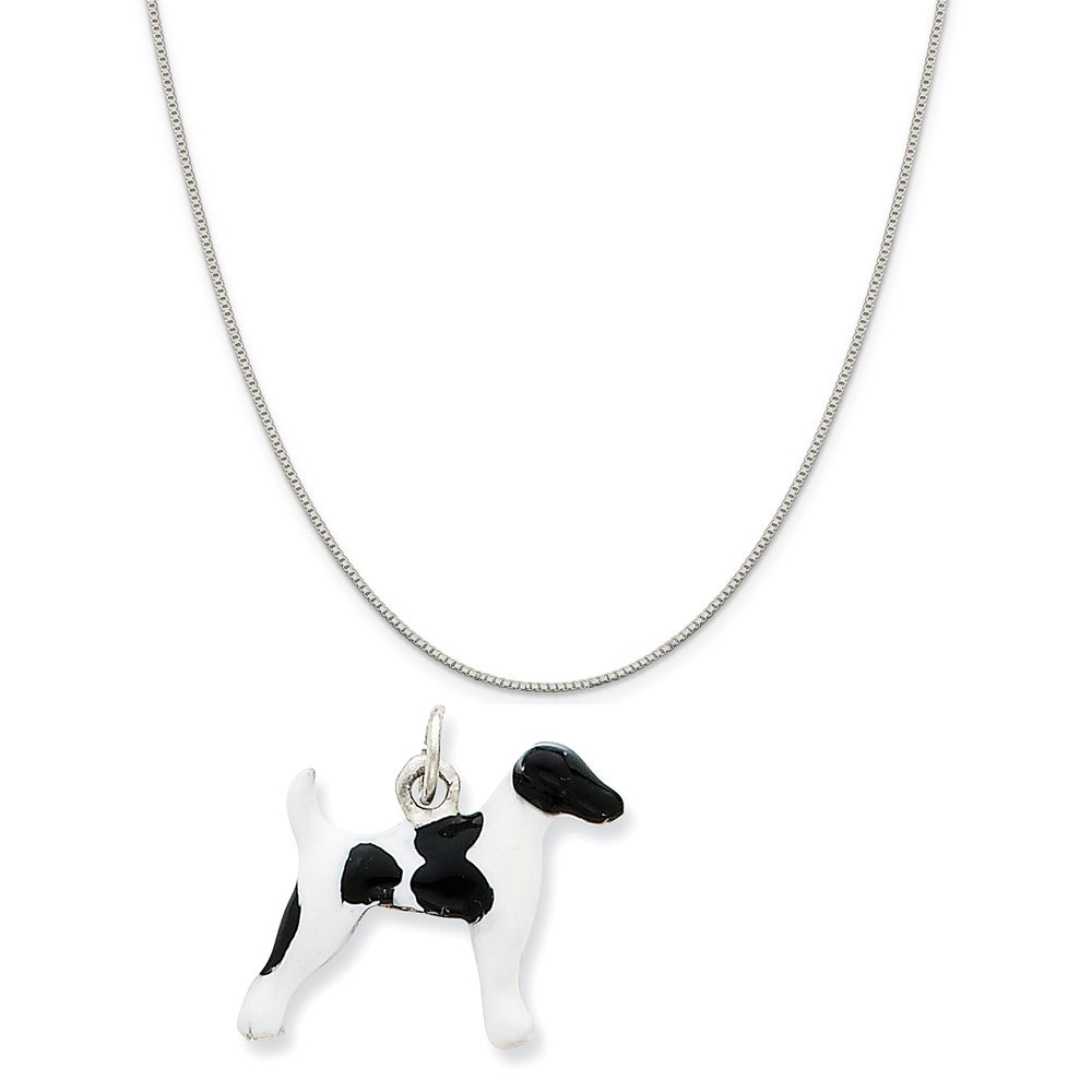 16-20 Mireval Sterling Silver Enameled White Poodle Charm on a Sterling Silver Chain Necklace