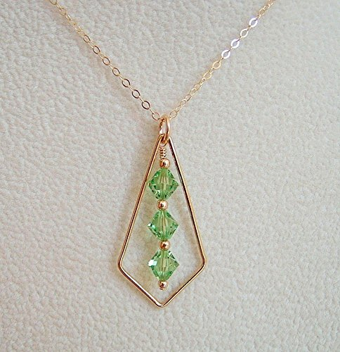 - Light Green Bicone Swarovski Elements Crystal Frame Pendant Necklace Gold Filled Chain 20