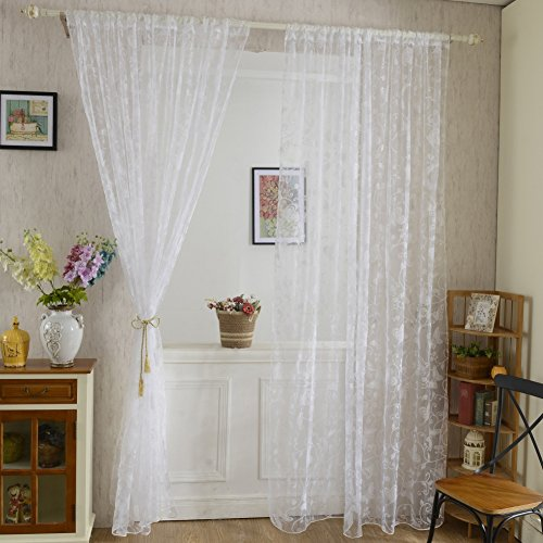 Flocked Door Window Drape Voile Butterfly Curtain 3 Colors ()