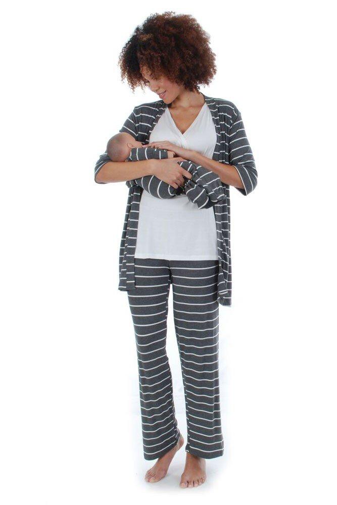 Everly Grey Roxanne 5 PC Mom & Baby Maternity Nursing Pajama Set (Medium, Charcoal)