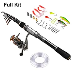 PLUSINNO Spinning Fishing Pole Rod and Reel Combo with Fishing Line,Fishing Kits Package for Starter