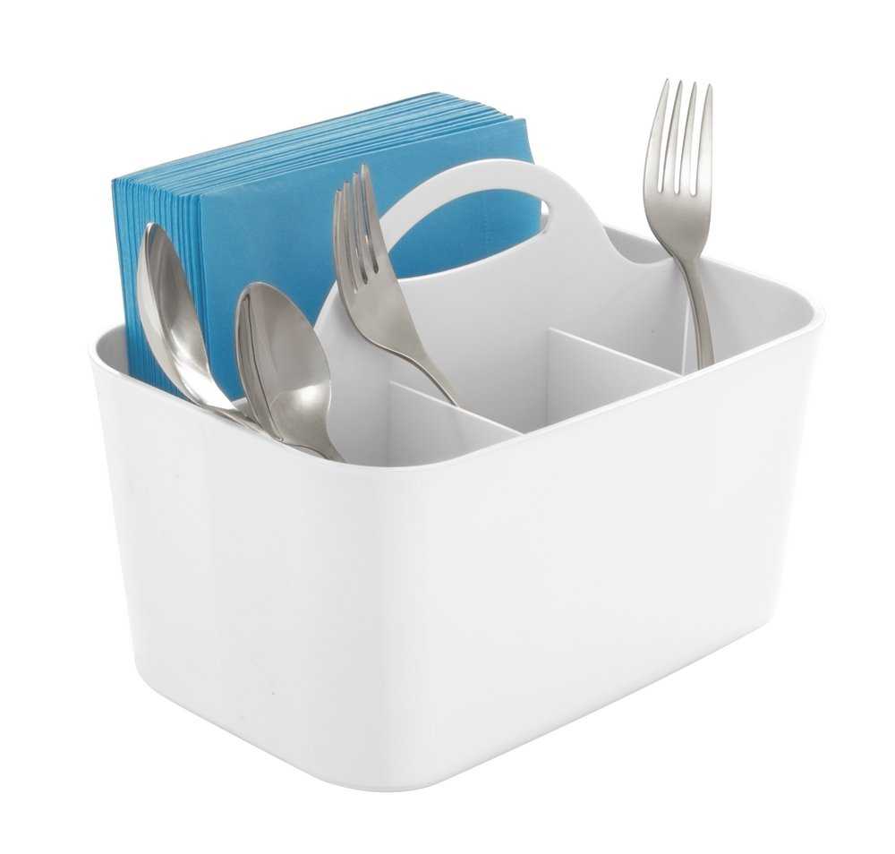 mDesign Plastic Cutlery Storage Organizer Caddy Bin - Tote with Handle - Kitchen Cabinet or Pantry - Basket Organizer for Forks, Knives, Spoons, Napkins - Indoor or Outdoor Use - White by mDesign