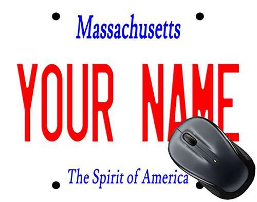 - BleuReign(TM) Personalized Custom Name Massachusetts State License Plate Square Mouse Pad