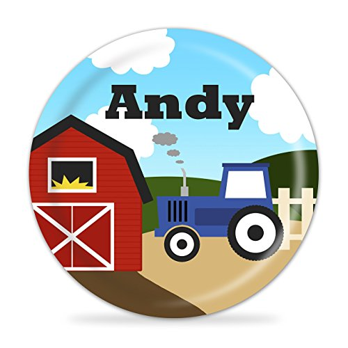 Blue Tractor Personalized Plate - Kids Farm Melamine Plate by PurpleBerryInk
