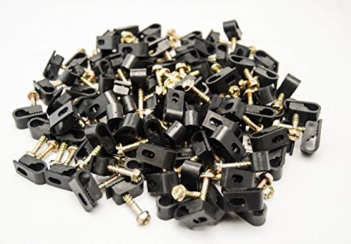 1000 Pieces Black Single Screw Flex Clips for RG59 RG6 CO AX SAT CABLE by Best Connections