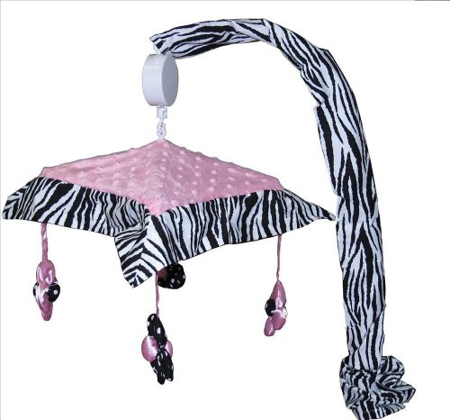 Pink Mobile Zebra Musical - Musical Mobile for Pink Minky Zebra Baby Bedding Set