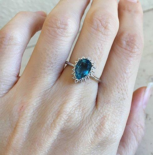 Blue Topaz Engagement Ring- Halo Engagement Ring- Blue Engagement Ring- December Birthstone Ring- Blue Promise Ring- Nontraditional Engagement Ring