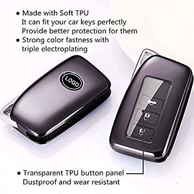 Mofei for Lexus Key Fob Cover Soft TPU Key Fob Case Protective Protector Shell Keyless Remote Control Smart Key Holder Jacket with Key Chain for Lexus RX is CT GS NX ES RC RCF GSF (Purple Black): Automotive