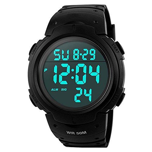 Men's Digital Sports Watch LED Alarm Stopwatch Waterproof Wrist Watch for Sports Military Army - Black